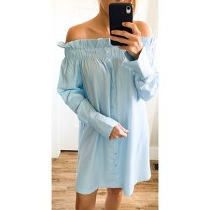 new✨ minkpink button front OTS dress light blue
